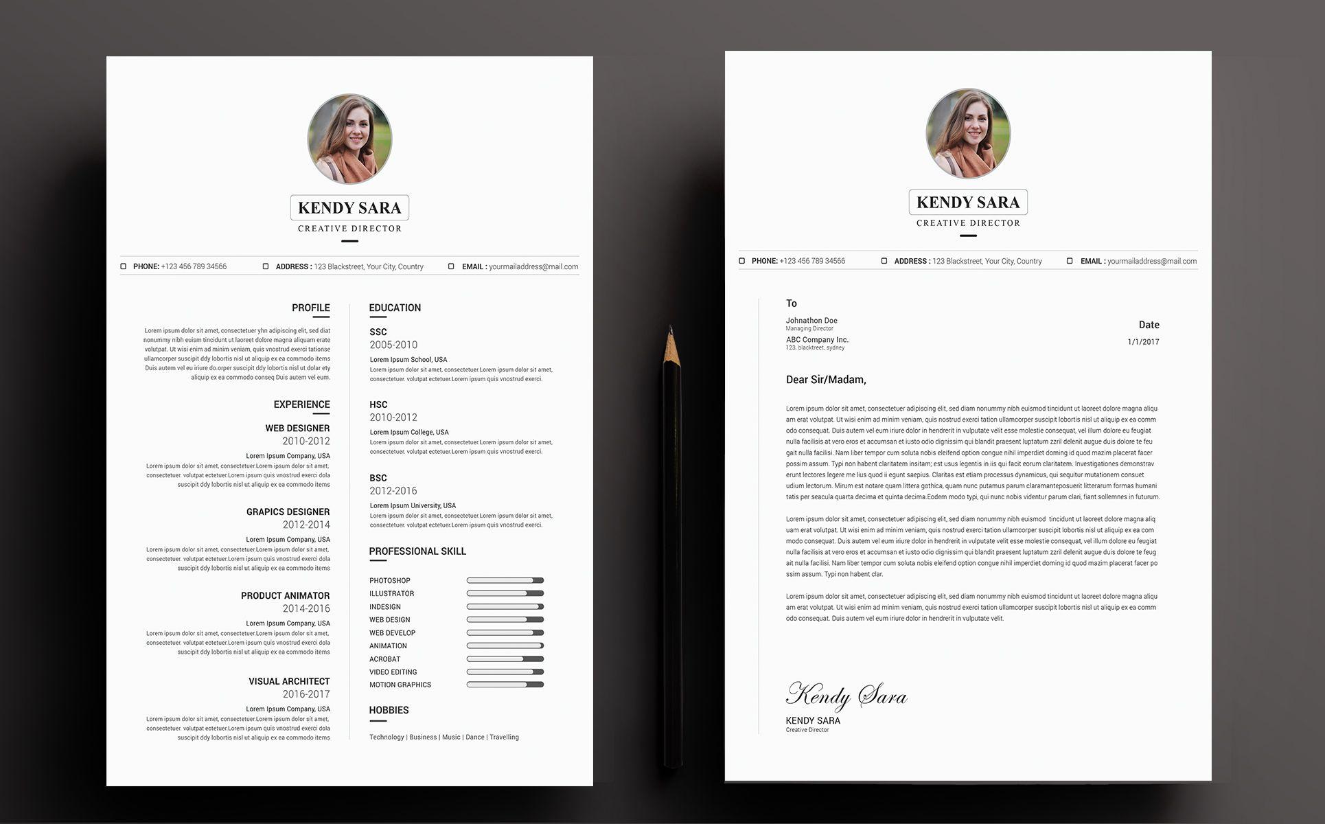 Kendy Sara Resume Template 71126 Templatemonster Resume Template Creative Director Cv Cv Resume Template