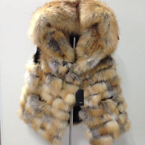 Bolero jacket coat fur red fox and genuine leather RED FOX