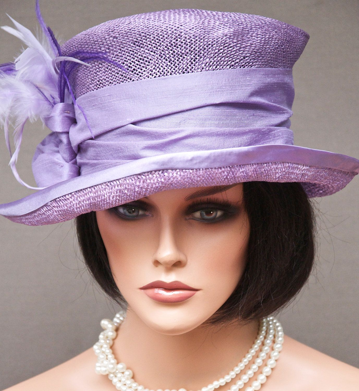 Lavender cloche silk satin feathers wedding derby hat