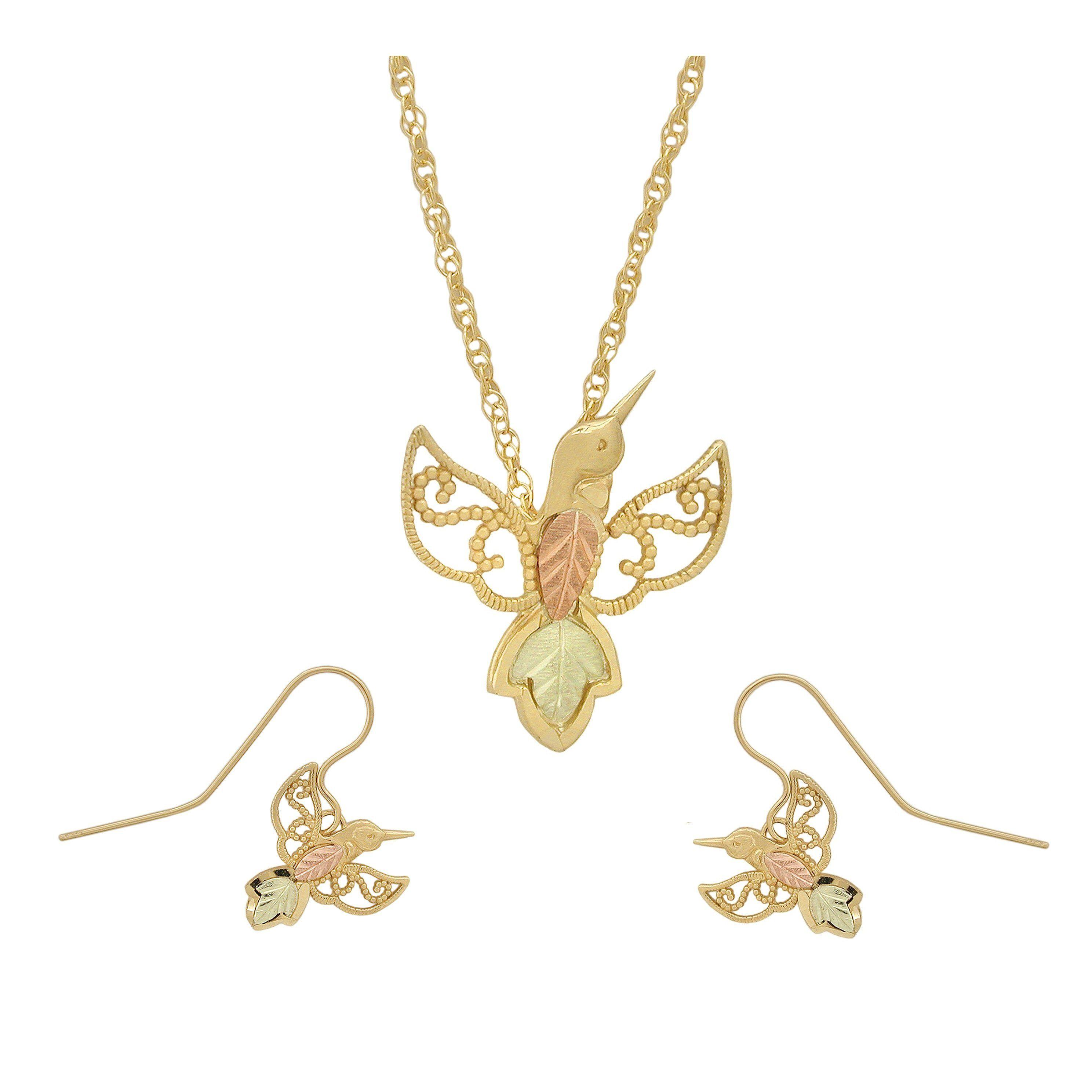 Black hills gold hummingbirds earrings u pendant set dragonfly