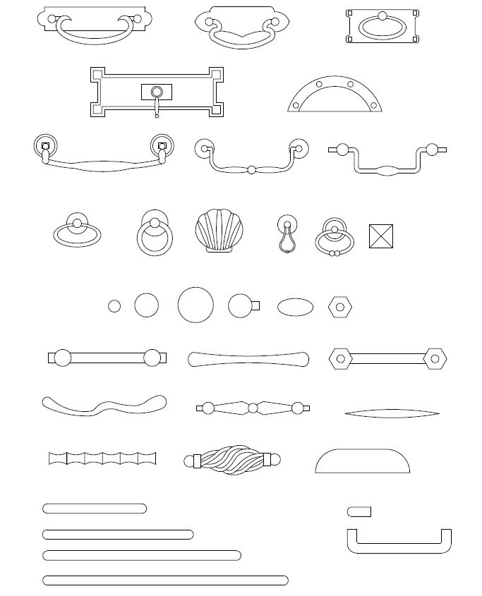 ArchBlocks AutoCAD Cabinet Hardware Block Symbols Interiors Pinterest A