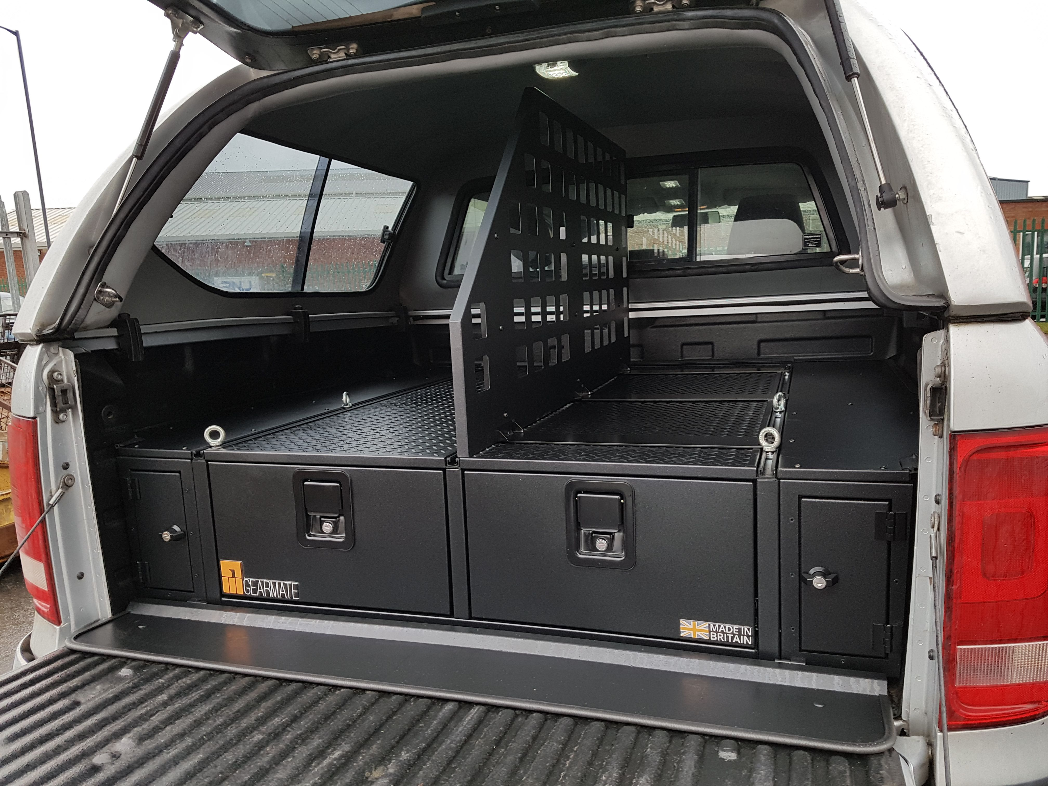 Volkswagen Amarok With Gearmate 300mm Twin Drawer Front Locking Pods Tailgate Gap Flap And Central Divider Truck Bed Camping Hilux Camper Truck Bed Drawers
