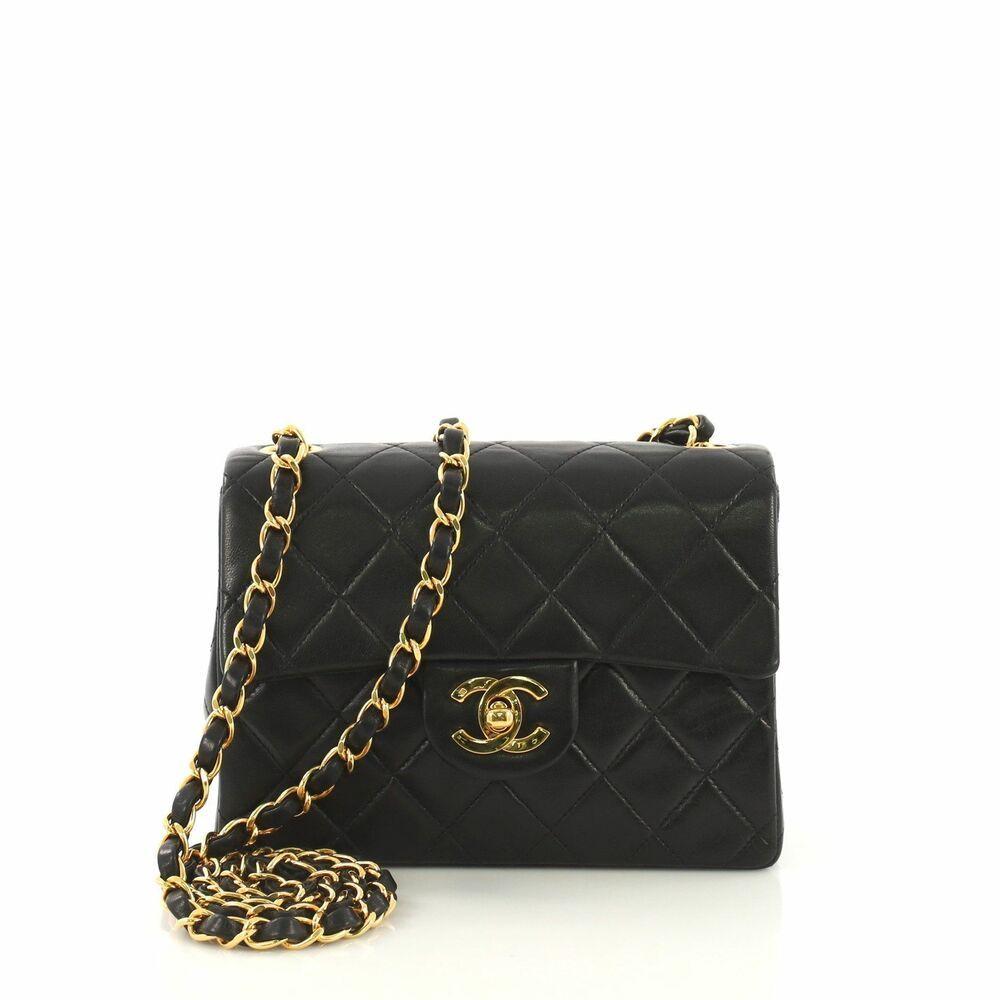 Chanel Vintage Square Classic Single Flap Bag Quilted Lambskin Mini Vintage Chanel Bags Shoulder Bag