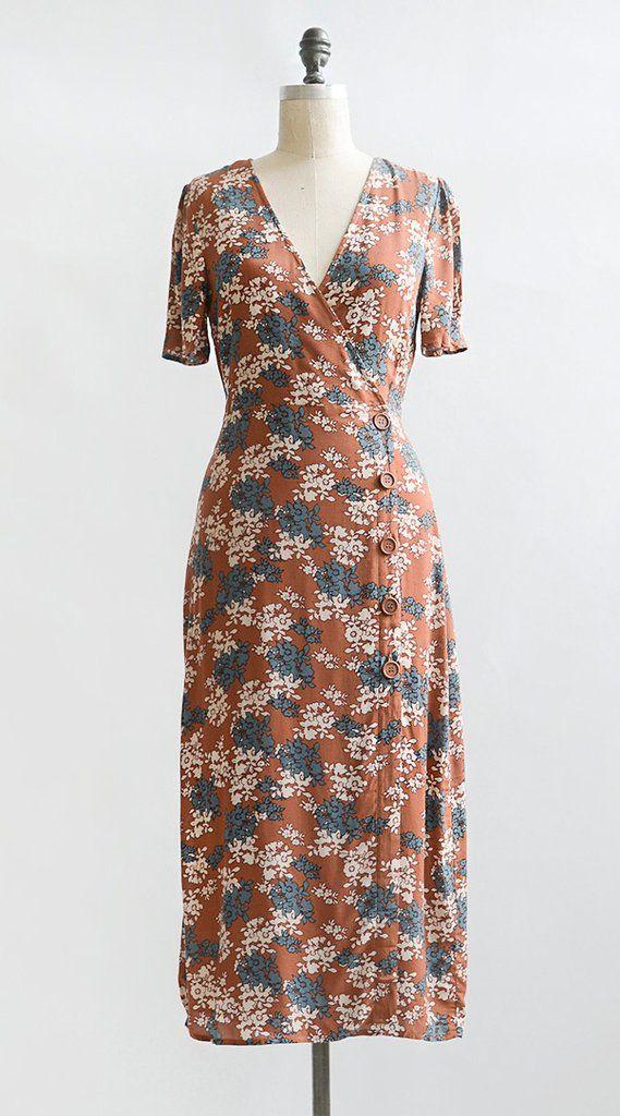 baa2d8f406b Vintage Inspired Dress   Feminine Floral Midi Dress   Jardin D Automne Dress  80s Dress