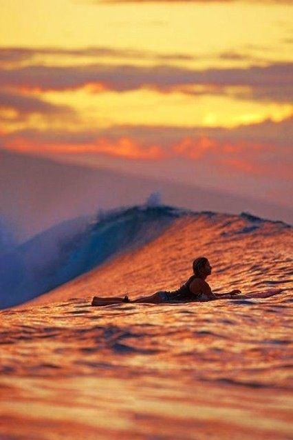 Twilight Time Sunset Surf Surfing Surfing Waves