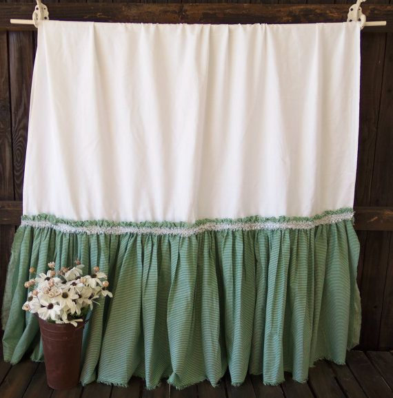 Ex Large UpCycled White Tablecloth Green Ruffle by picadillymarket, $49.95