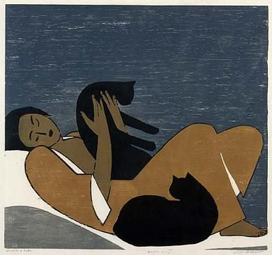 """Will Barnet (b. 1911), """"Woman and Cats"""" (1962); color woodcut on paper.  22 7/8 x 24 1/2 in. (58.1 x 62.2 cm).  Smithsonian American Art Museum."""