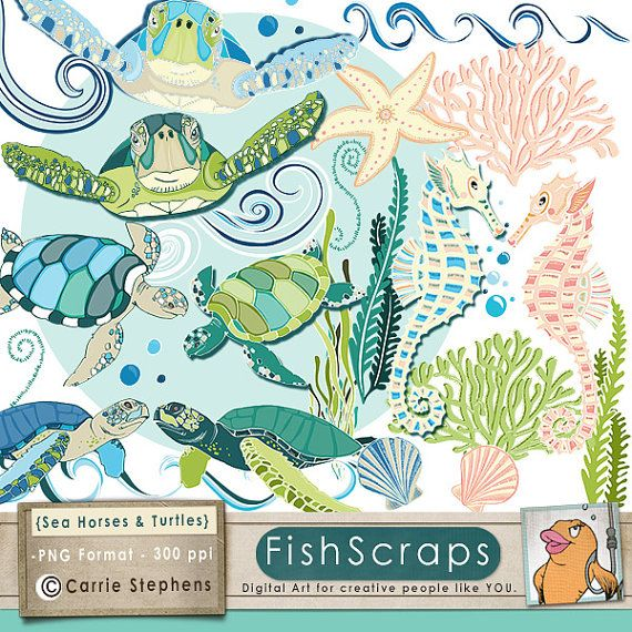 Sea Turtle ClipArt, SeaHorse ClipArt, Ocean Animal Graphics, Under ...