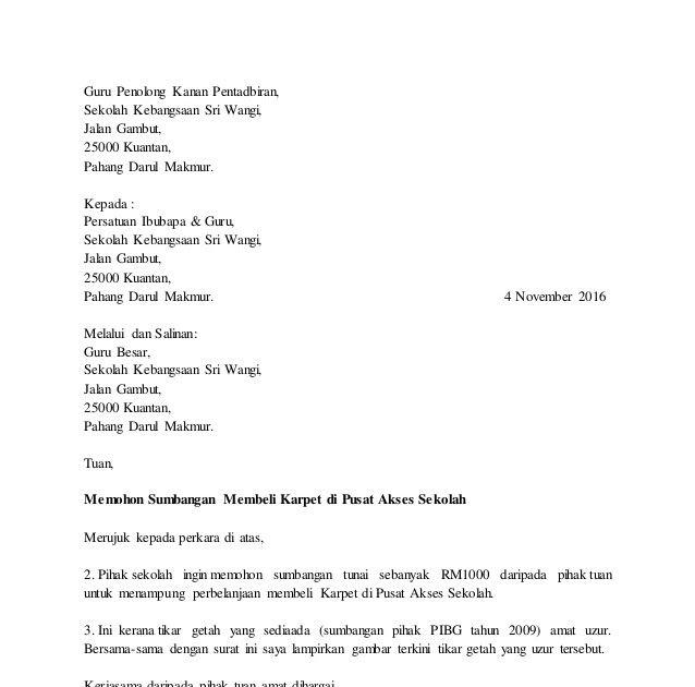 Contoh Surat Rasmi Mohon Sumbangan Download Kumpulan Gambar