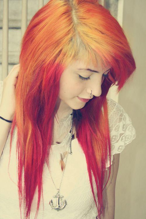 orange emo hair styles