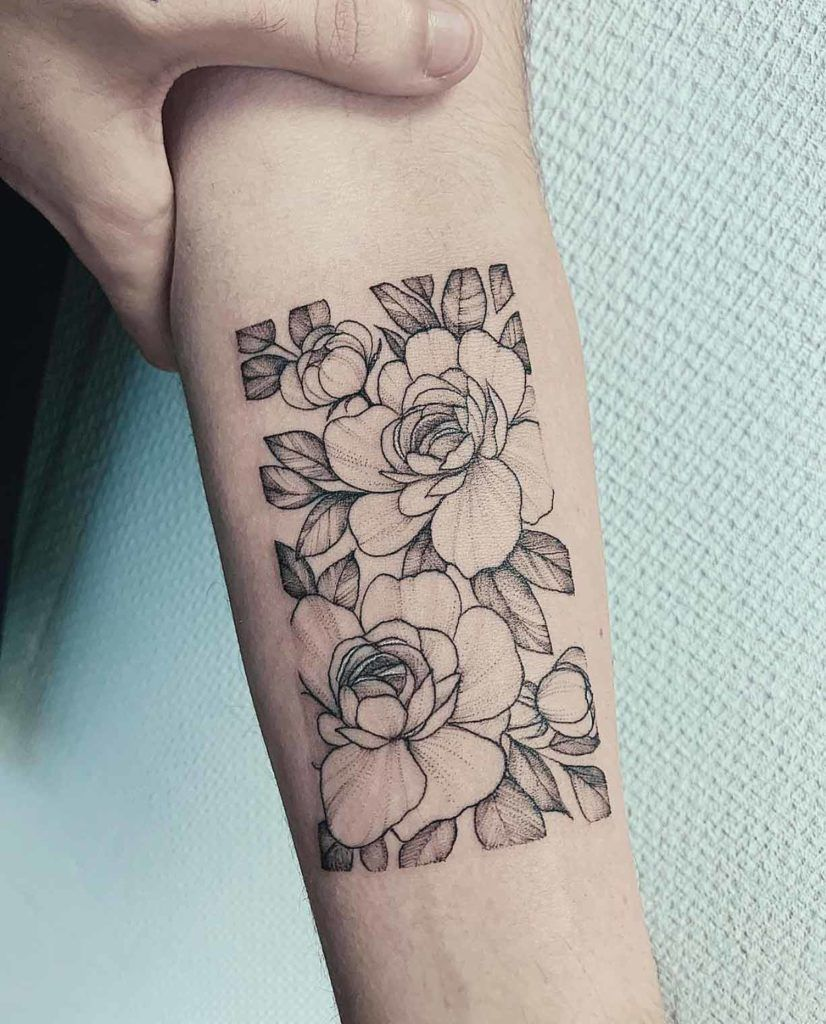 A Peony Rectangle By Anna Bravo Floral Arm Tattoo Tricep Tattoos Floral Tattoo