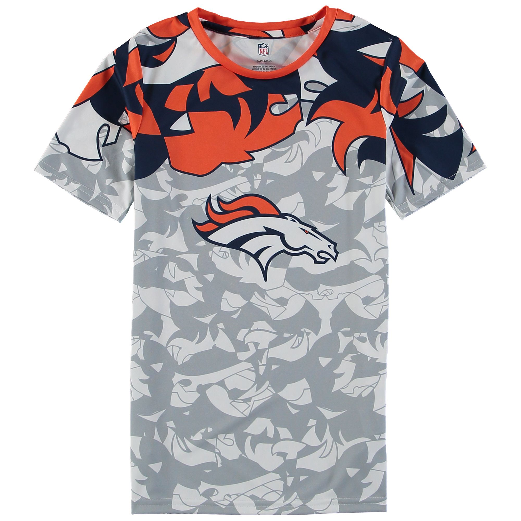 NFL Youth Gray Denver Broncos NFLxFIT Quicksnap Deconstruction Colorblock T- Shirt 3b1239482
