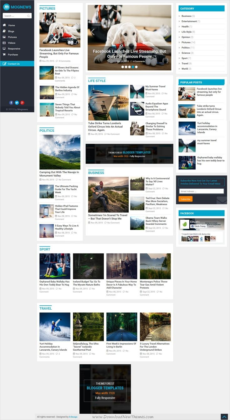 Mognews Is A Wonderful Premium Responsive Blogger Template For