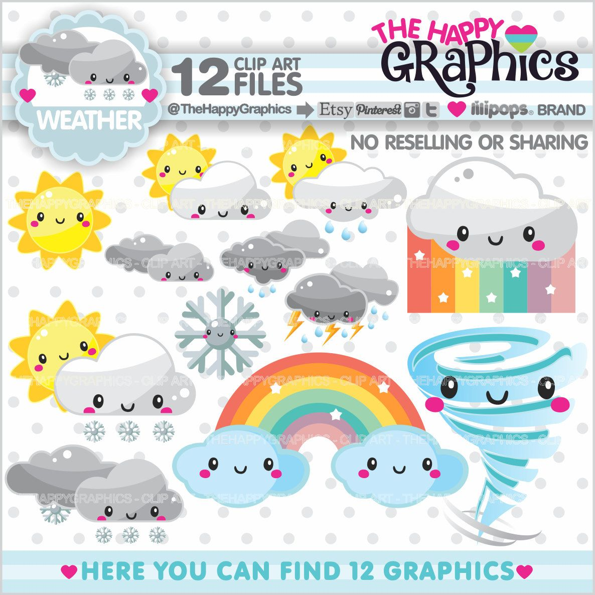Weather clipart 80off weather graphics commercial use forecast weather clipart cute clipart cloud clipart by kennasatodesigns voltagebd Image collections