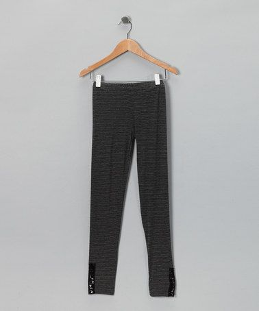 Take a look at this Charcoal Sequin Leggings - Girls by Hannah Banana on #zulily today!