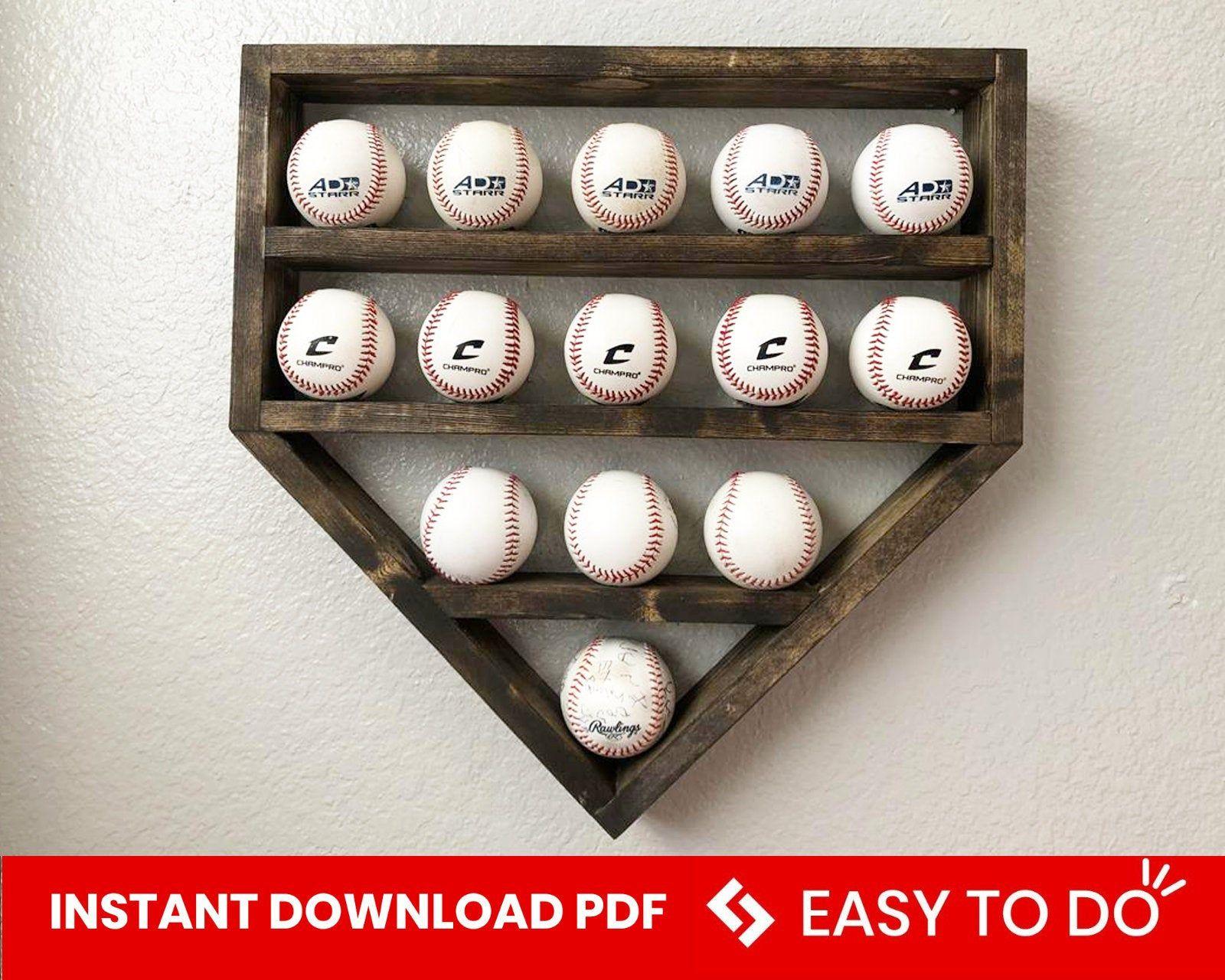 14 Baseball Display Case Plan Cabinet Holder Rack Plan DIY baseball frame plan Instant