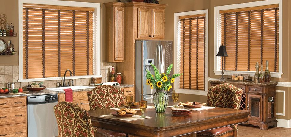 Beautiful Faux Wood Blinds in this Kitchen AOTS Blinds Shades
