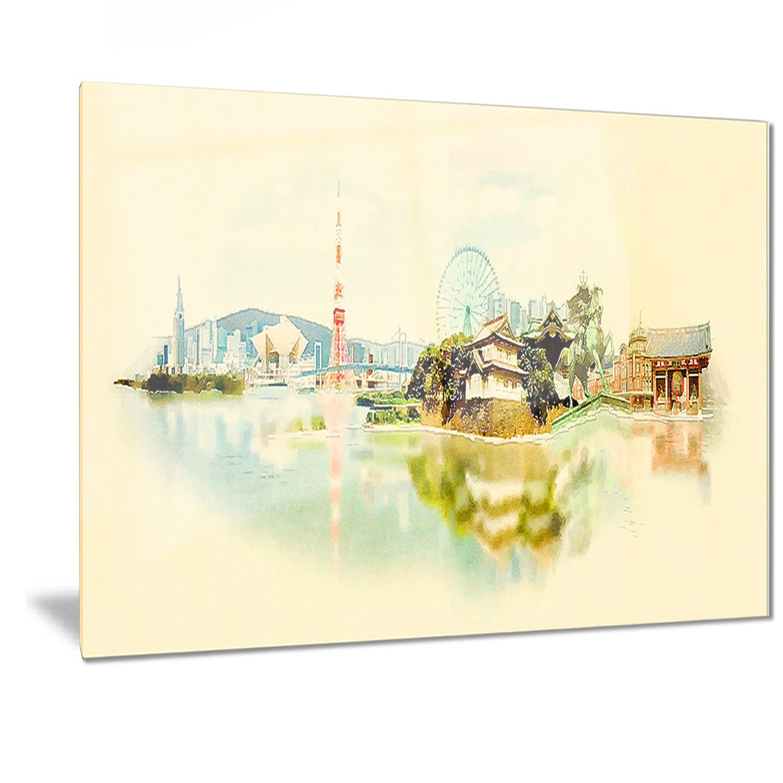 Designart \'Tokyo Panoramic View\' Cityscape Watercolor | Watercolor ...
