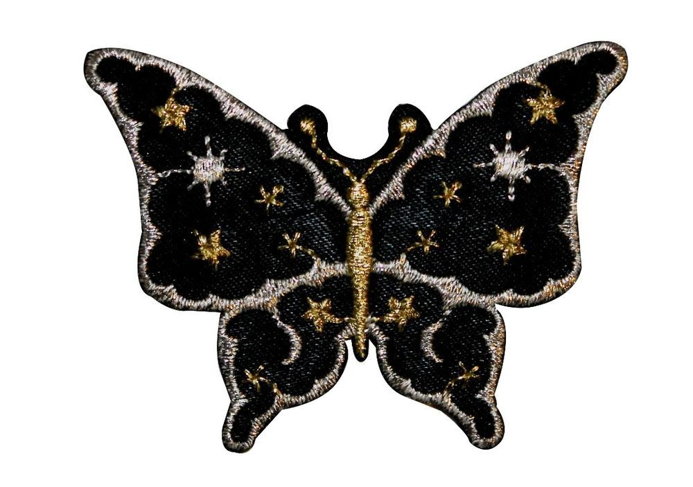 Butterfly Insect Black Moon & Stars Embroidered Iron On Badge Applique Patch FD #FD