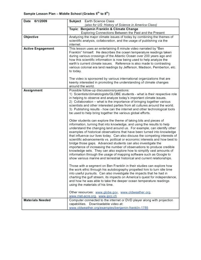 middle school lesson plan template for sample templates