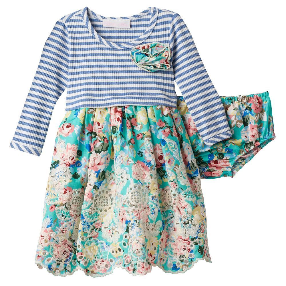 6f6b6f515 Baby Girl Bonnie Jean Striped Floral Dress