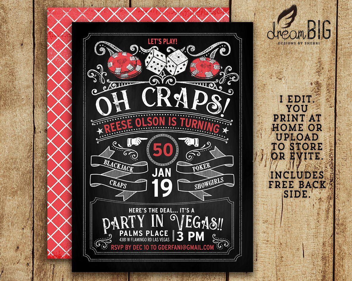 Old Vegas Casino Gambling Birthday Retirement Invitation Oh Craps Invite Evite Facebook Event 21st 30th 40th 50th 6 Old Vegas Craps Healthy Dinner Recipes Easy