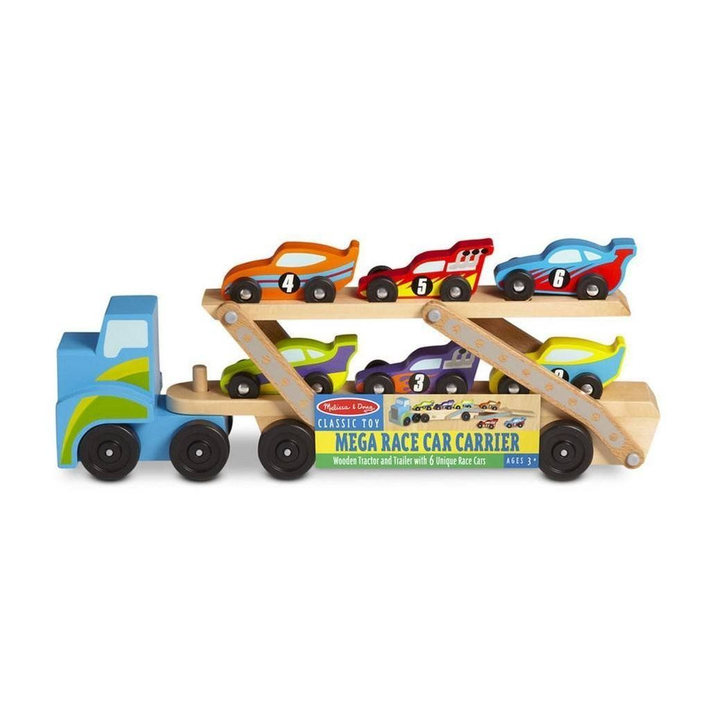 Toys cars 3  Melissa u Doug Mega Race Car Carrier Wooden Vehicle Play Set A