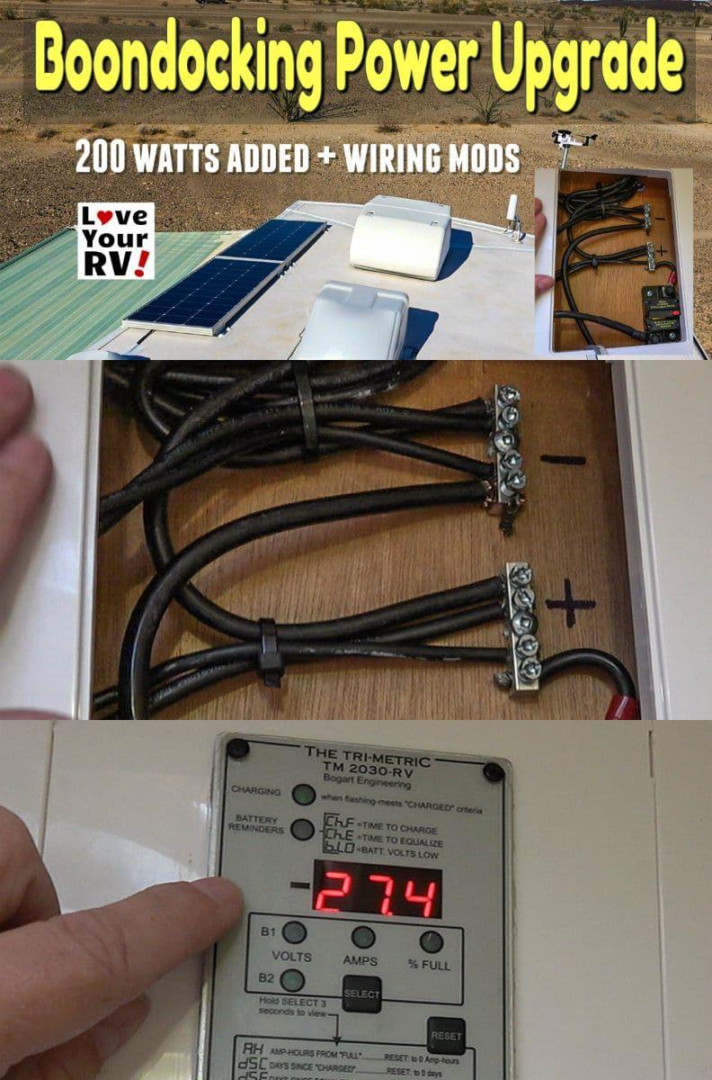 Boondocking Power Upgrade 200 Watts Wiring Update Mods Boondocking Rv Solar Power Rv Solar