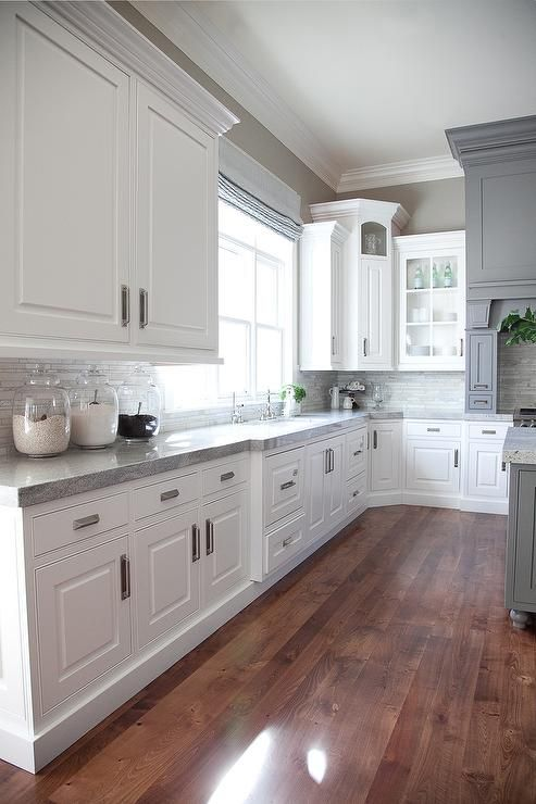 White Cabinets Grey Countertops This Is Beautiful Love The Corner Cabinet As Well Gray And White Kitchen Design Transitional Kitchen