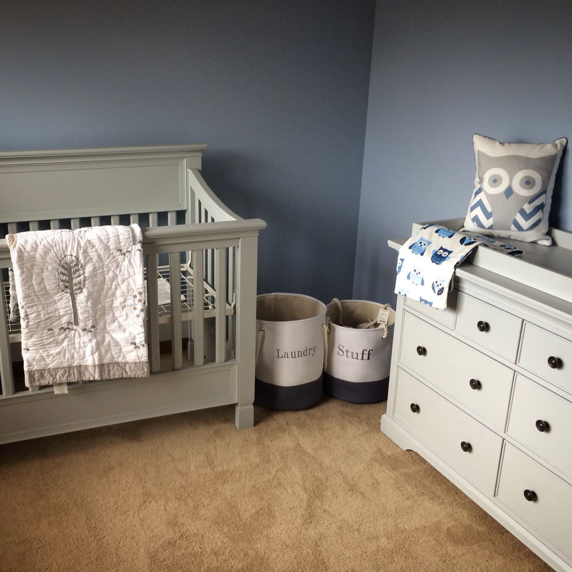 Pottery Barn Larkin Crib And Dresser And Woodlands Nursery Quilt