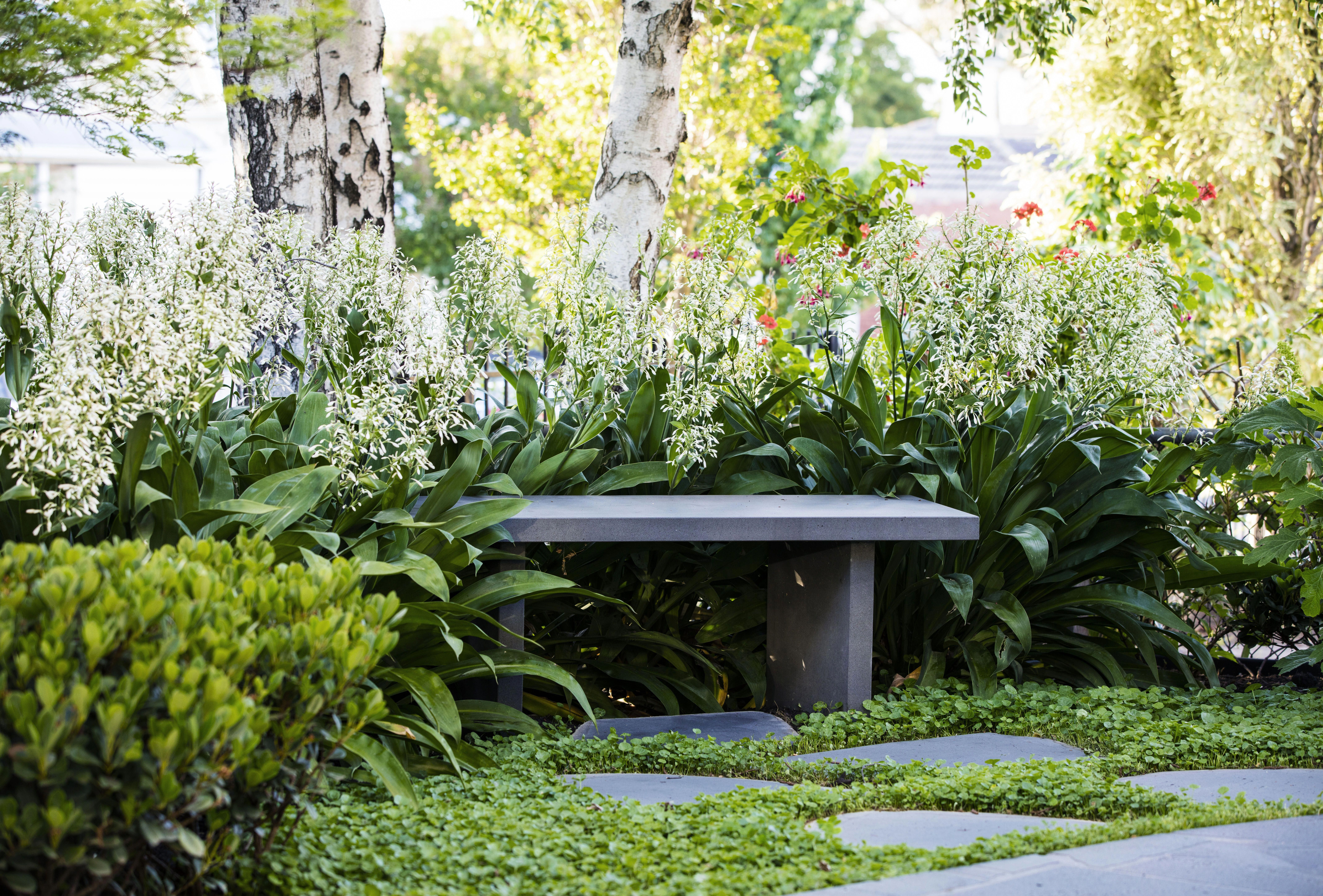 A Stone Garden Bench Is Nestled Amongst Blooming Flowers In This Lush Low Maintenance Garde Low Maintenance Backyard Low Maintenance Garden Stone Garden Bench