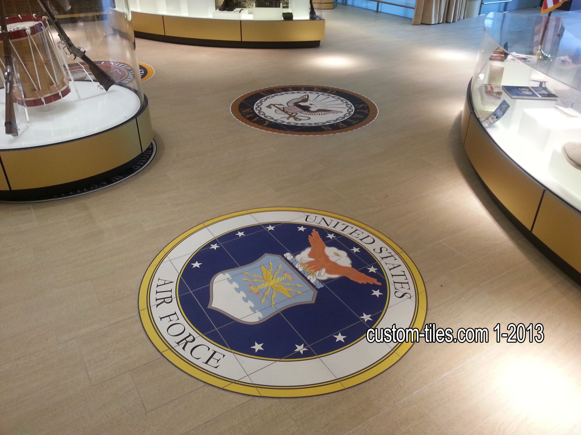 Military Logos On Ceramic Floor Tile Floor Medallions At Hall Of