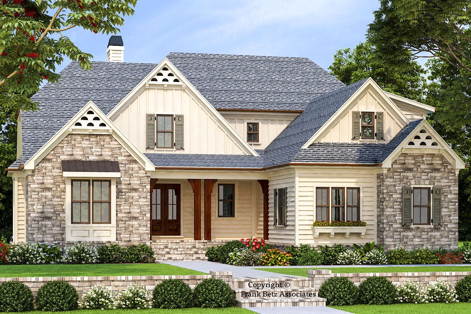 Plan 710322btz Multi Gabled 4 Bed New American House Plan Farmhouse Style House Plans Farmhouse Style House Country Style House Plans