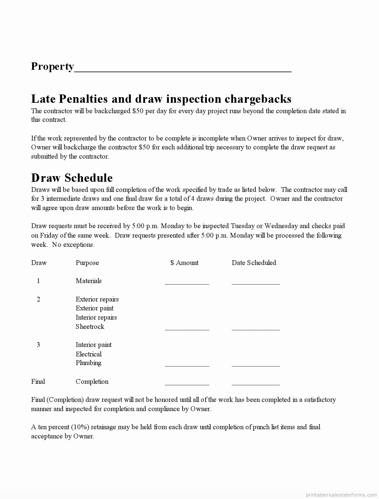 Draw Request Form Template Elegant Free Printable Subcontractor Agreement Form Word Real Estate Forms Real Estate Business Plan Legal Forms