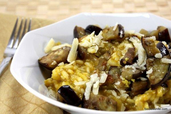 Lemon and aubergine risotto