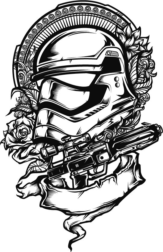 Stormtrooper Helmet Silhouette : stormtrooper, helmet, silhouette, Inspired, Design, Stormtrooper, Helmet, Tattoo, Style, Composition, Background