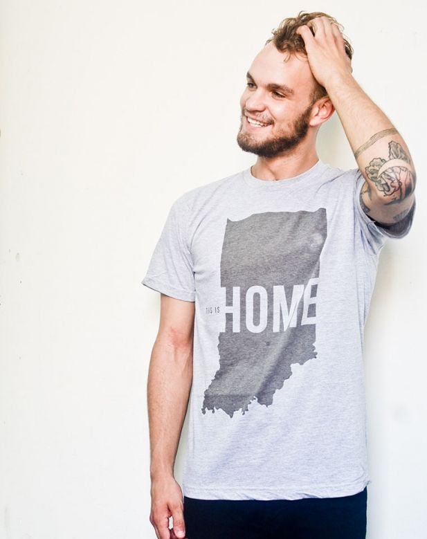 "Indiana ""This is Home"" Tee (Grey). The perfect shirt for a proud Hoosier -- United State of Indiana's This is Home tee on Grey. #StatePride #handmade #AmericanMade #HoosierTee #IndianaTee www.aftcra.com"