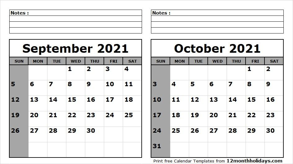 September October 2021 Calendar Printable | 2020 calendar template