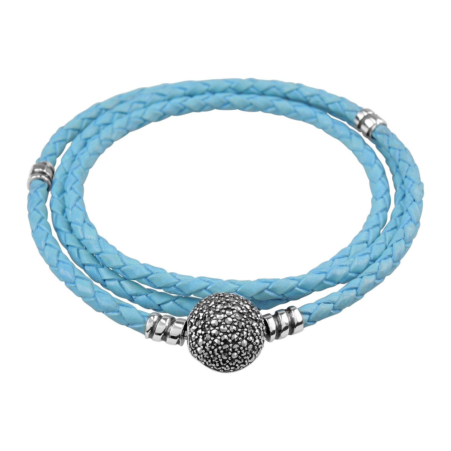 Aura by tjm braided triple leather bracelet with sterling silver