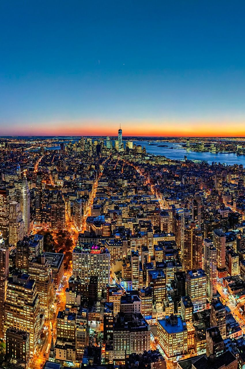New York City at sunset (by Fabian Schneider) City, New
