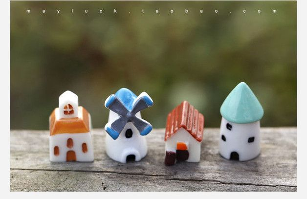 Perfect gift for someone special. Balcony Furniture – 4X House Figure Fairy Garden Suppliers Miniature – a unique product by FairyWoodland via en.DaWanda.com