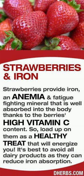 strawberries provide iron an anemia fatigue fighting mineral that is well absorbed into the body thanks to the berries high vitamin c content