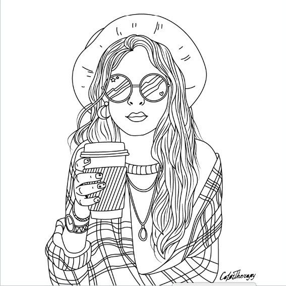 The Sneakpeek For The Next Gift Of The Day Tomorrow Do You Like This One Hipster La People Coloring Pages Cute Coloring Pages Coloring Pages For Girls
