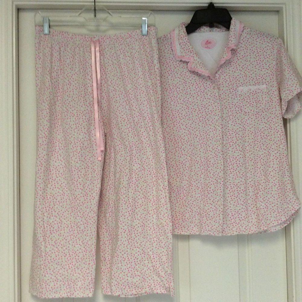 Aria 2 Pc Cotton Capri Pajama Set Womens Med White Pink Floral Short