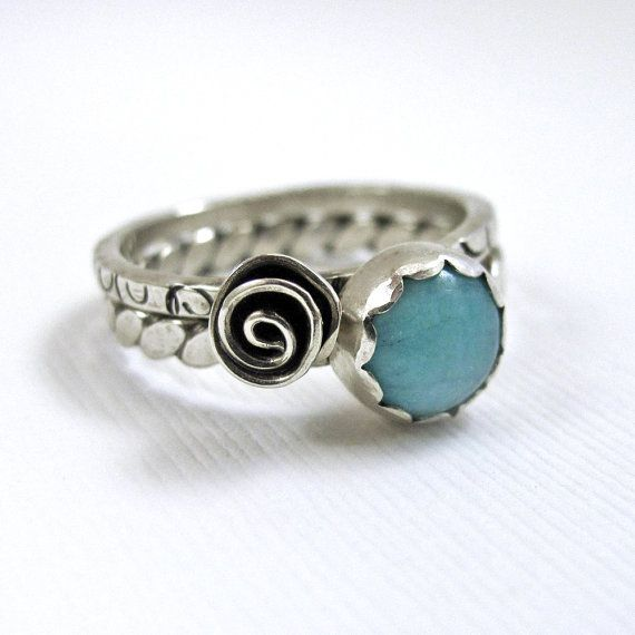 Stacking Turquoise Rings Sterling Silver Rings Flower Ring Metalsmith Jewelry Bobo