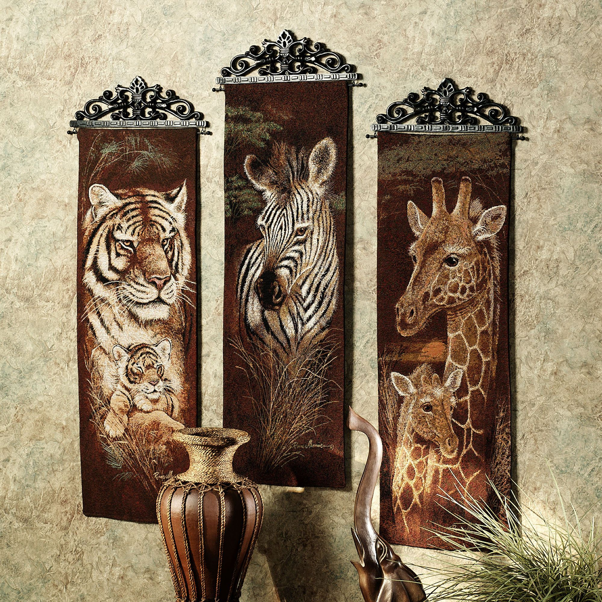 safari animal wall tapestry panel set | safari animals, safari and