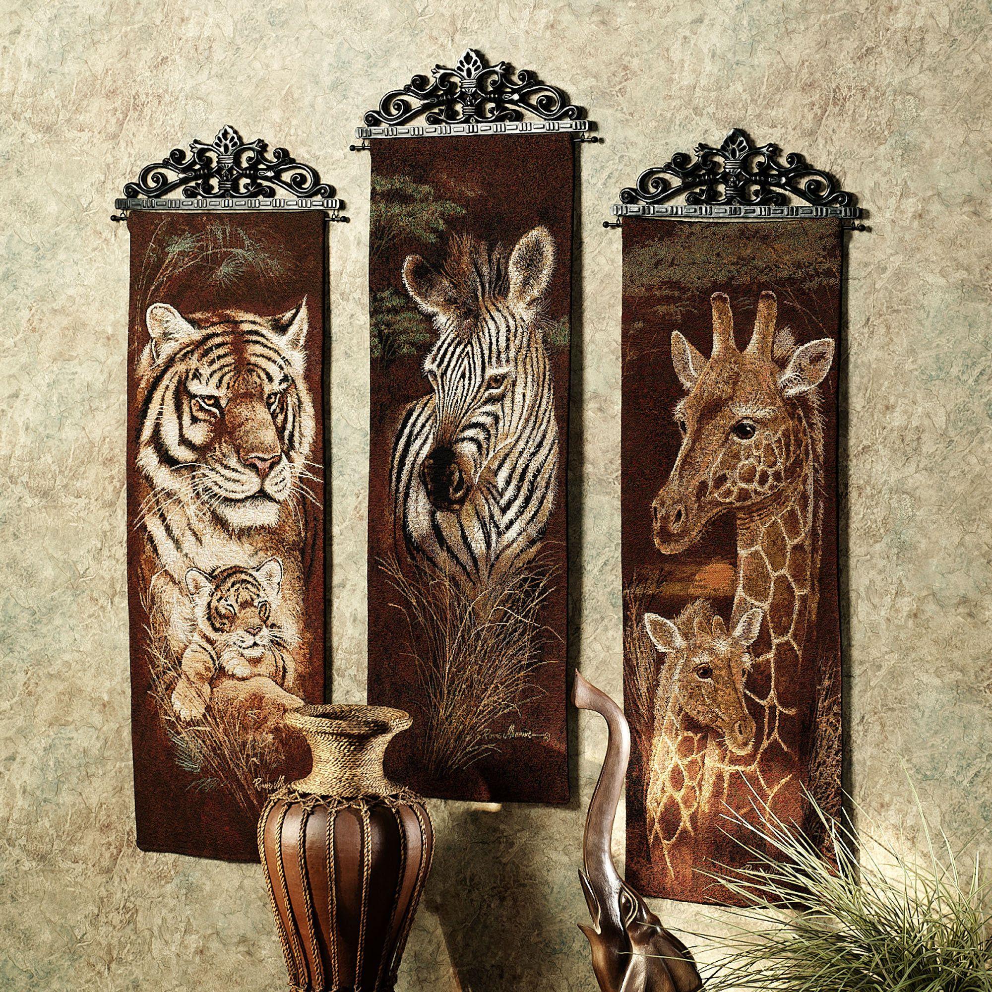 Safari Animal Wall Tapestry Panel Set Safari home decor