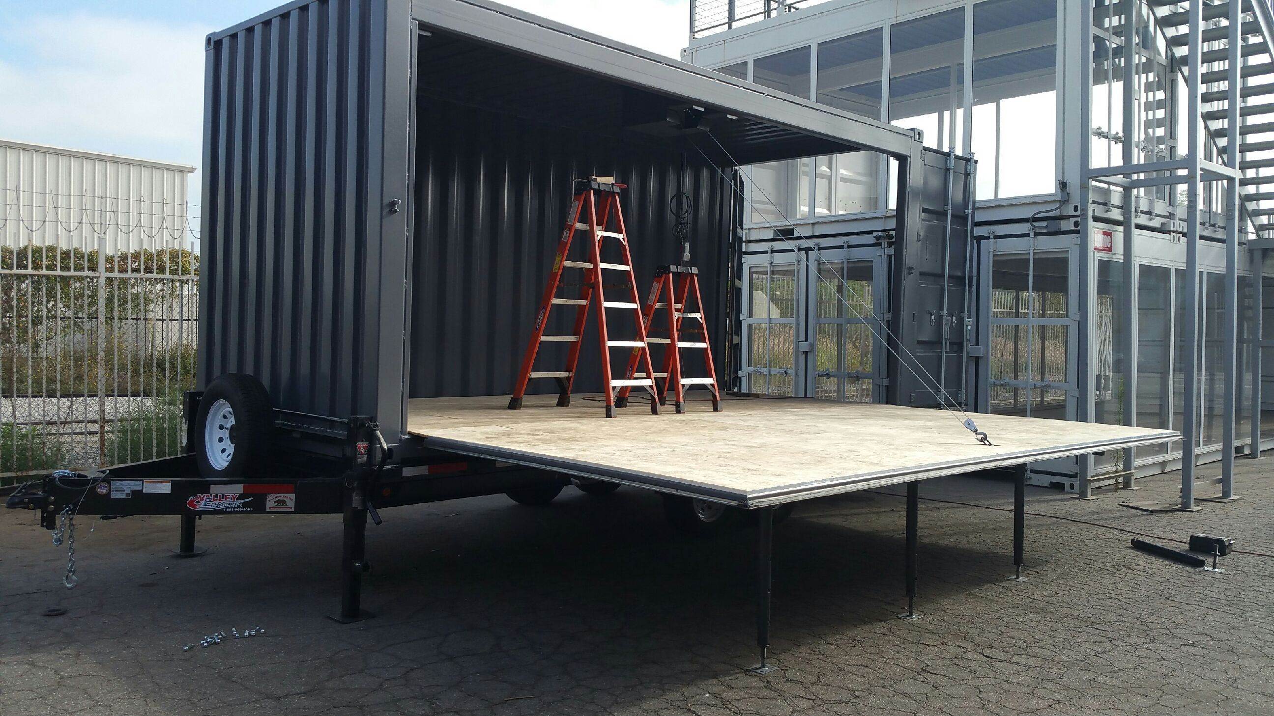 Ipme Is Currently Fabricating A Fold Down Container Stage Mounted On A Trailer We Are Excited To Fabri Sea Container Homes Container Design Shipping Container