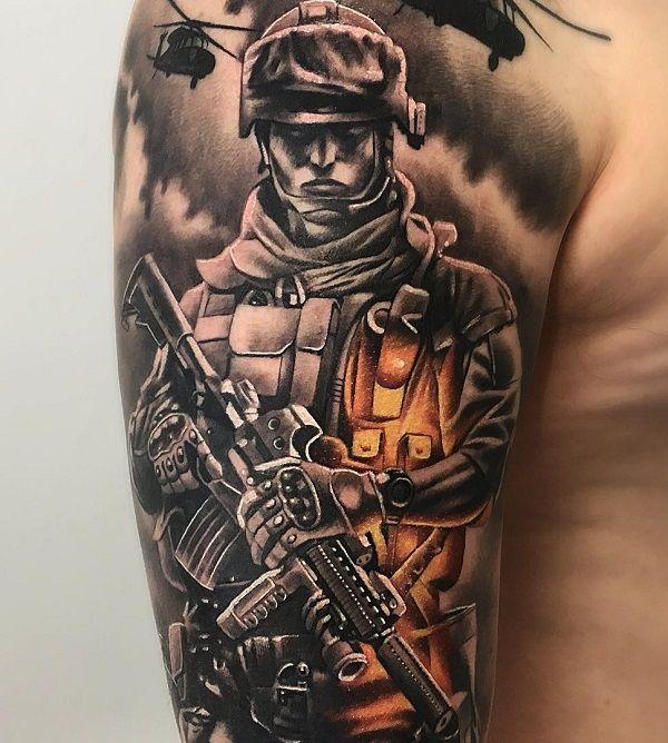 40 Stunning War Themed Tattoos Cuded Army Tattoos Military Tattoos Soldier Tattoo