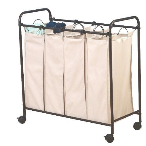 Household Essentials 3477 Rolling 4 Bag Laundry Sorter By